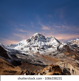 Panorama of mount Annapurna South, also called Annapurna Dakshin or Moditse from Annapurna Base camp in the Nepal Himalaya