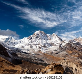 Panorama of mount Annapurna - view from Annapurna Base Camp in Nepal Himalaya
