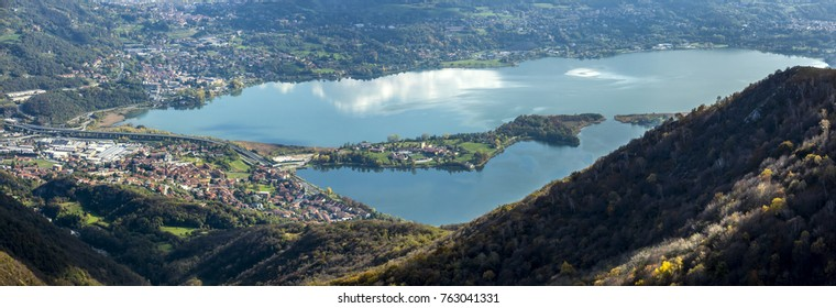 Panorama from Mount Cornizzolo on Lake Annone