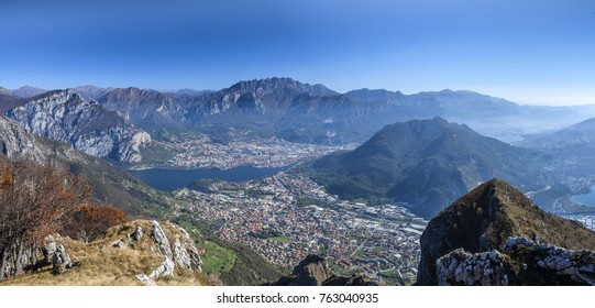Panorama from Mount Cornizzolo on the town of Lecco and the vill