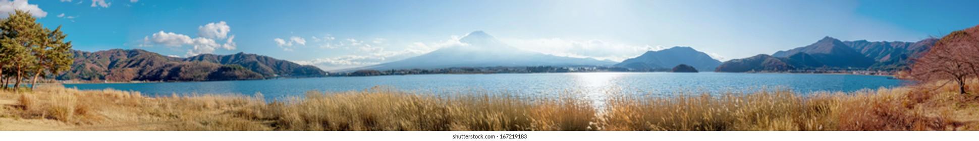 Panorama of Mount Fuji at kawaguchiko, japan