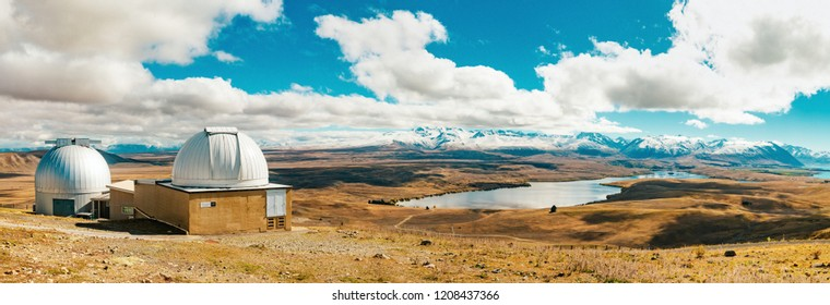 Panorama of the Mount John observatory at Lake Tekapo, south island New Zealand