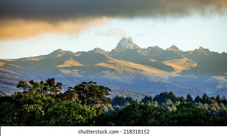 Panorama of Mount Kenya, second highest mountain in Africa