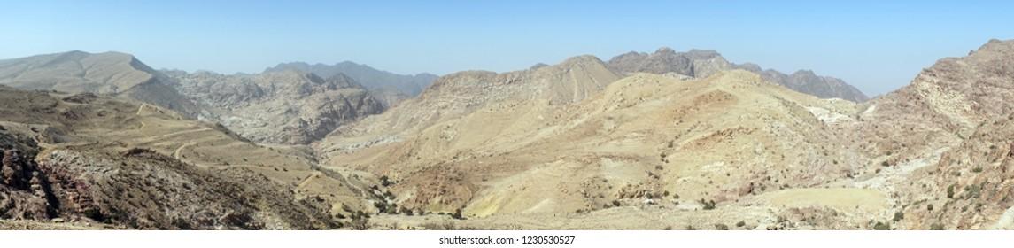 Panorama of mountain area near Shobak, Jordan