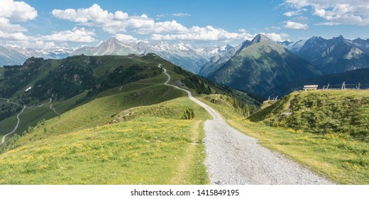 Panorama of a mountain bike trail in the Alps