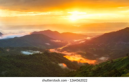 Panorama Mountain, fog over the forest with light bean on sun on morning time. Beautiful nature in Khao kho,Phetchabun,Thailand