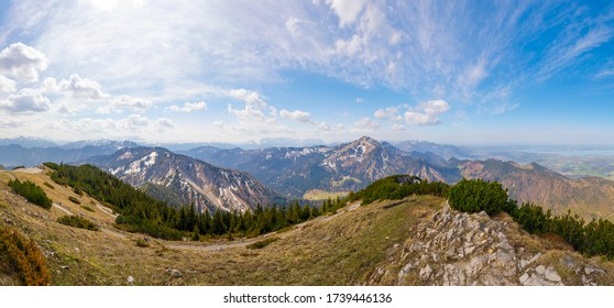 Panorama of Mountain Hochgern and Lake Chiemsee