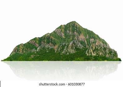 Panorama mountain isolated on a white background, with clipping path.