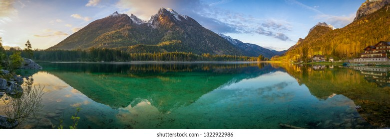 Panorama of a mountain lake in the Alps