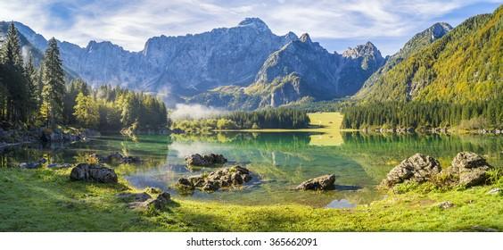 panorama of mountain lake in the Julian Alps,Laghi di Fusine