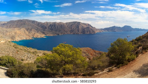 Panorama mountain landscape Sea Spain