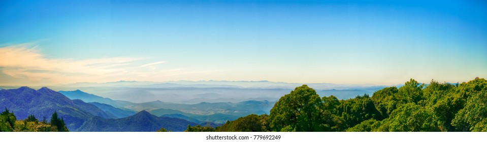 Panorama of mountain with misty on morning at Thailand.