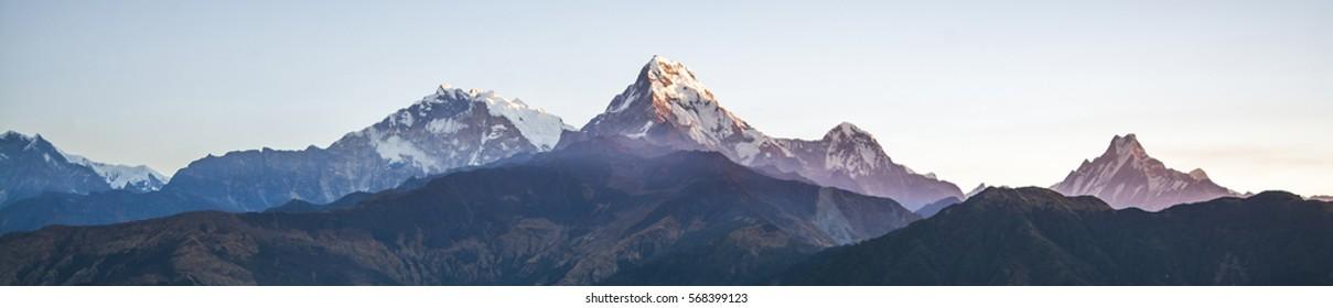 Panorama mountain range in the morning, Himalayas in Nepal