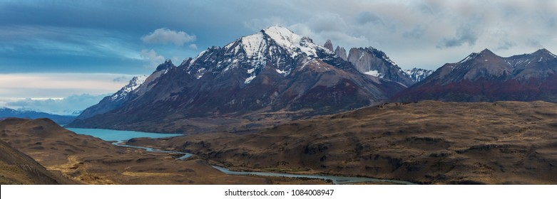 Panorama of the mountain range of Torres del Paine, Patagonia, Chile