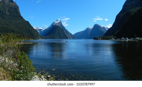 Panorama of the mountain scenery at Milford Sound, South Island, New Zealand