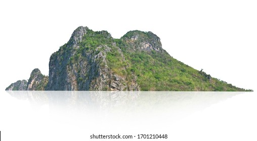 panorama mountain with tree isolate on white background