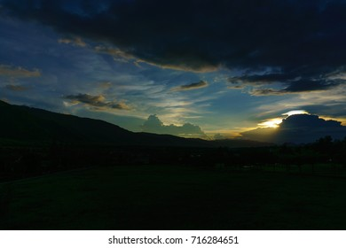 panorama mountain view with blue sky and cloud and sun when twilight at dusk.
