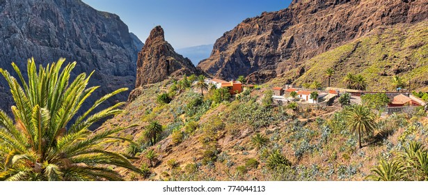 Panorama of mountain village Masca at Tenerife (Canary Islands)