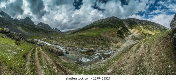 Panorama of mountainous landscape in Kasmir, India, on summer day.