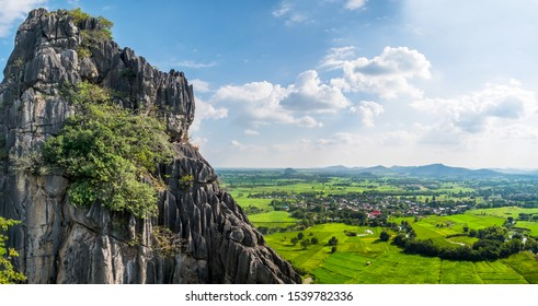 panorama of mountains against clouds background,view point of nong bua lam phu province,thailand travel