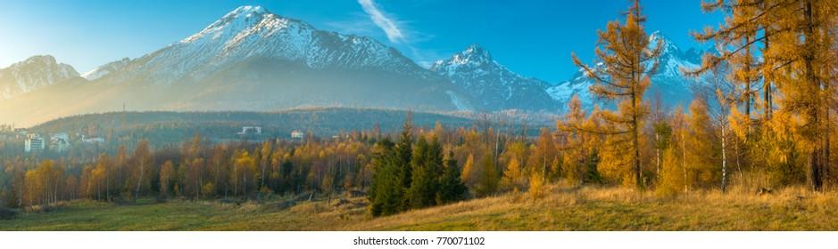 Panorama of mountains in autumn scenery, High Tatras, Slovakia, high resolution panorama