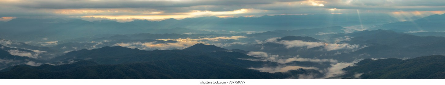 Panorama mountains with clouds, fogy  in the morning  at viewpoint