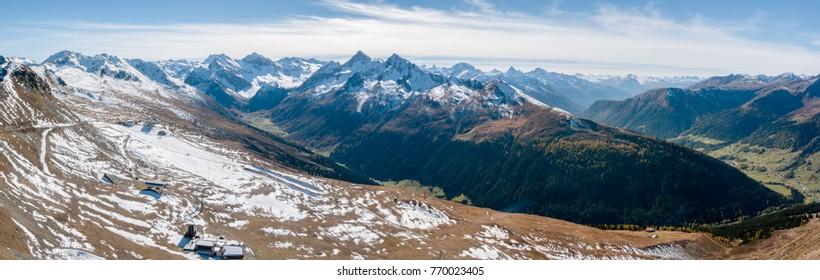 Panorama of the mountains at Davos in Autumn, seen from Jaobshorn, Graubunden, Switzerland, EU.