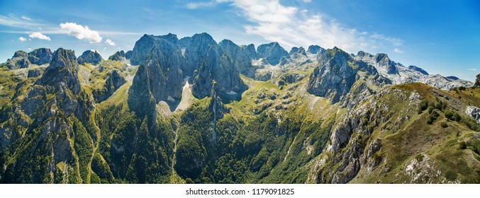 panorama of mountains in national park Prokletije in Montenegro
