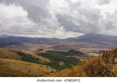 Panorama mountains near Jermuk spa resort city and Arpa river canyon form ropeway station. Armenia.