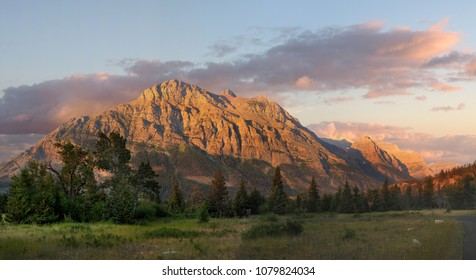 Panorama of the Mountains Outside the Going to the Sun Campground at Sunrise, Glacier National Park, Montana