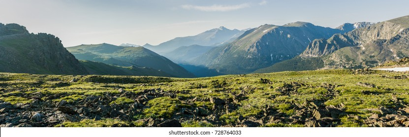 Panorama of the mountains at Rocky Mountains National Park, Colorado, USA
