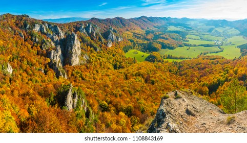 Panorama of mountains in the Sulov rocks Nature Reserves in the autumn in Slovakia, Europe