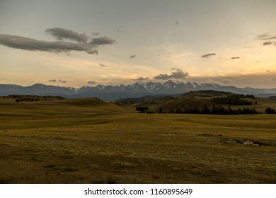 panorama of the mountains, sunset