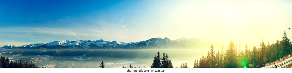 Panorama of the mountains Tatras in Zakopane city - Poland