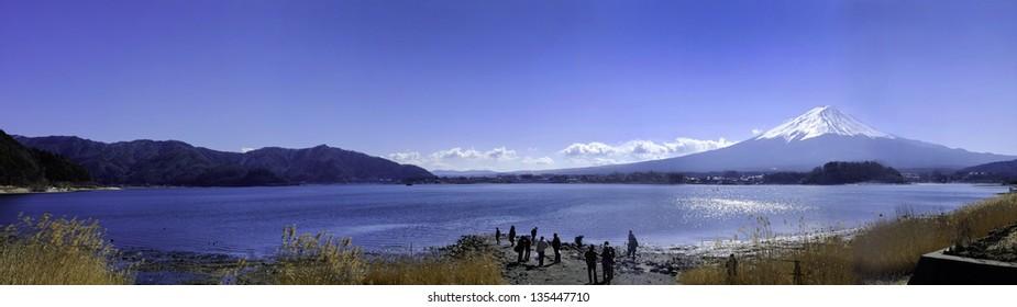 Panorama of  Mt Fuji at lake Kawaguchiko