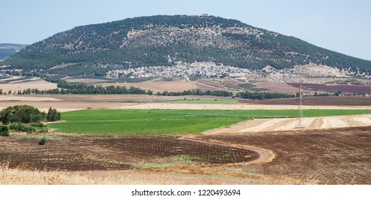 a panorama of mt tabor har tavor in the lower galilee in northern israel with modern agricultural fields in the foreground