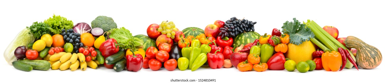 Panorama multicolored fruits and vegetables isolated on white background.