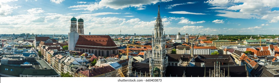 Panorama of Munich city center (Marienplatz with Frauenkirche and old townhall)