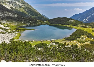 Panorama of Muratovo lake, Pirin Mountain, Bulgaria