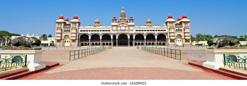 Panorama of Mysore Palace, Karnataka state in India