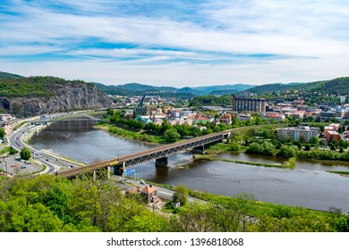 A panorama of Ústí nad Labem (Czechia) with the hills of Central Bohemian Highlands in the background