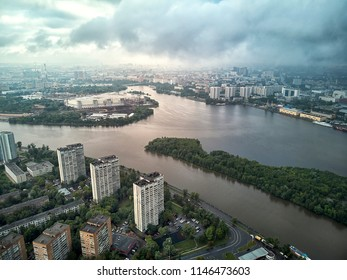 Panorama of the Nagatinsky floodplain district in Moscow aerial view
