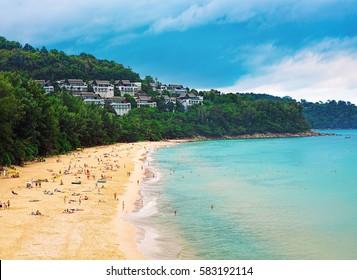 Panorama of Naithon sea public beach. Phuket, Thailand
