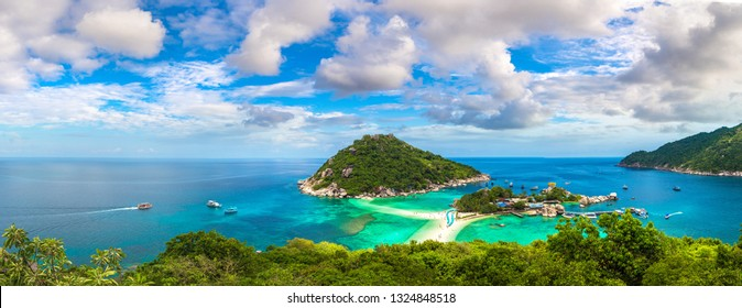 Panorama of Nang Yuan Island, Koh Tao, Thailand in a summer day