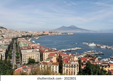 A panorama of Naples, Italy, with Mt. Vesuvius