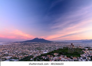 Panorama of Naples and Mount Vesuvius in, Italy. View of Mount Vesuvius, an active volcano in Naples.