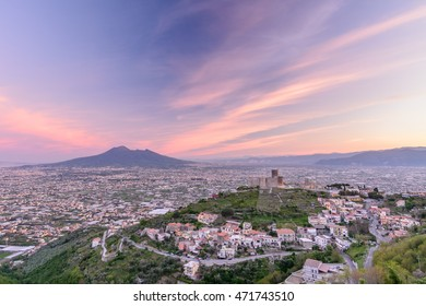 Panorama of Naples and Mount Vesuvius, June 10, 2016 in Naples, Italy. View of Mount Vesuvius, an active volcano in Naples.