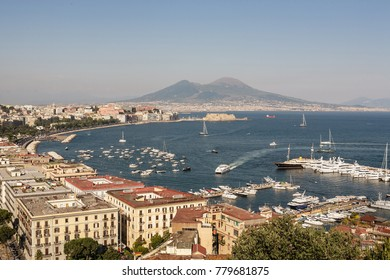 Panorama of Naples, view the famous scenic Gulf of Naples and Mount Vesuvius  on background