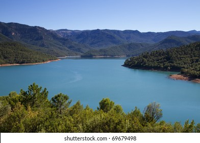 Panorama of National Park Sierra Cazorla with lake, Andalusia, Spain
