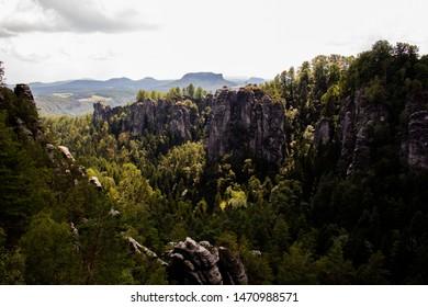 Panorama Nationalpark Sächsische Schweiz Bastei